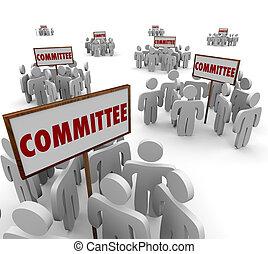 compito, comitato, persone lavorare, insieme, lavoro squadra, forze