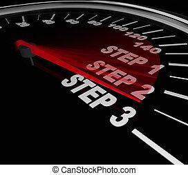 compito, completo, passo, 3, 1, speedomter, lavoro, 2, indicazione, istruzioni