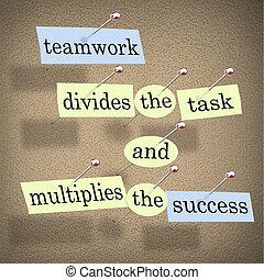 compito, lavoro squadra, multiplies, successo, divide