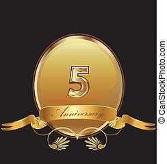 compleanno, 5, sigillo, anniversario