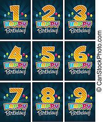 compleanno, numeri, felice