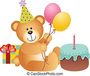 compleanno, orso, teddy