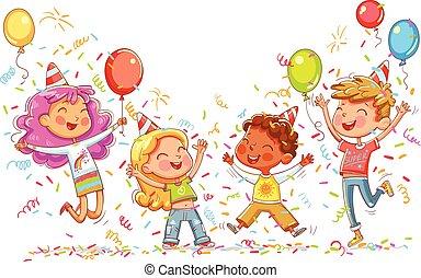 compleanno, saltare, ballo, bambini, festa