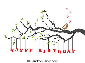 compleanno, uccello, scheda, felice