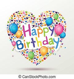 compleanno, vettore, cartolina auguri, felice