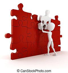 completare, puzzle, fondo, bianco, 3d, uomo