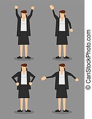 completo, lingua, illustrazione, corpo, vettore, formale, donna, grigio, professionale