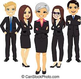 completo, nero, squadra affari