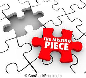 completo, perso, mancante, puzzle, articolo, risultato, fondare, finitura, pezzo, finale