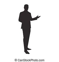 completo, presentatore, vettore, silhouette, affari