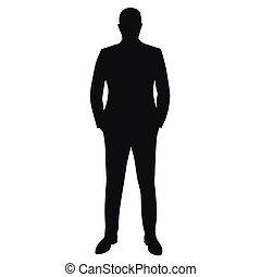 completo, uomo affari, vettore, silhouette, isolato