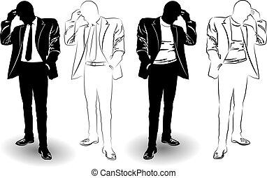 completo, uomo, silhouette, nero, bianco