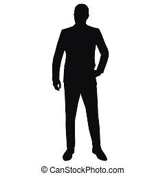 completo, vettore, silhouette, isolato, uomo