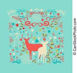 composition., livelli, elementi, amore, file, organizzato, forma, allegro, editing., vettore, reindeers, facile, eps10, natale