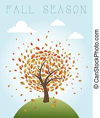 composition., livelli, file, eps10, illustration., vendemmia, foglie, albero, autunno, editing., vettore, che esplode, facile, mondo, organizzato, sopra