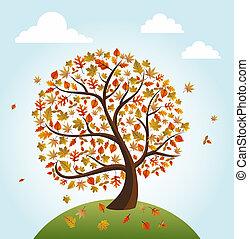 composition., livelli, file, eps10, illustration., vendemmia, foglie, organizzato, albero, autunno, editing., vettore, facile, mondo, cadere, sopra