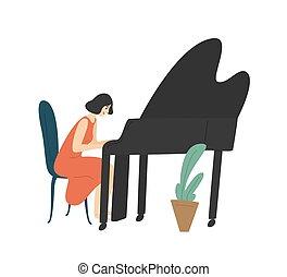 compositore, isolato, pianista, femmina, ragazza, hobby., concert., lei, giovane, fondo., musica, grande, esecuzione, bianco, godere, felice, appartamento, donna, musicista, piano., cartone animato, illustration., o, vettore, gioco