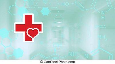 composizione, medico, rete, cuore, icone, rosso, ospedale, sopra, croce