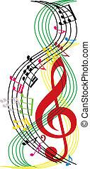 composizione, note, fondo, tema, vettore, musica, illust, musicale