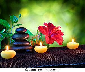 composizione, pietre, terme, candele