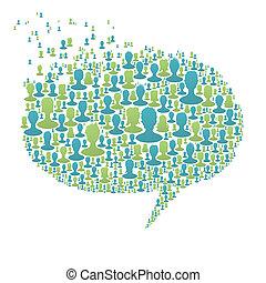 composto, bolla, persone, concetto, molti, discorso, eps8, sociale, vettore, silhouettes., rete