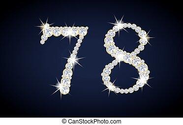 composto, dorato, frame., set., numero, alfanumerico, 7, diamanti, 8, completo