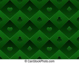 composto, poker, modello tessuto, simbolo, casinò, seamless, struttura, volume, vettore, sfondo verde, minimalistic, tavola., scheda, 3d
