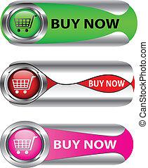 comprare adesso, set, bottone, metallico