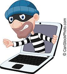 computer, cartone animato, crimine