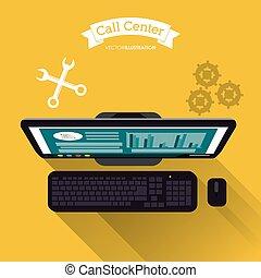 computer, centro chiamata, icona