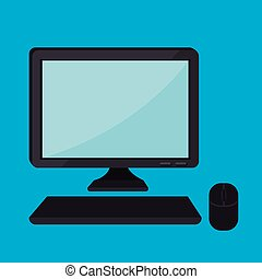 computer desktop, monitor, icona