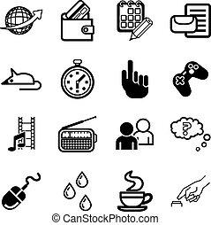 computer, domanda, set, icona, media