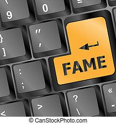 computer, fama, chiave, tastiera