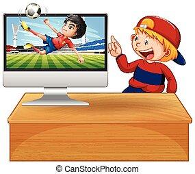 computer, football, schermo, desktop