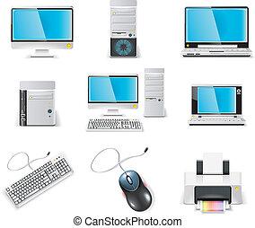 computer, icon., vettore, bianco