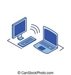computer, laptop aperto, desktop, schermo