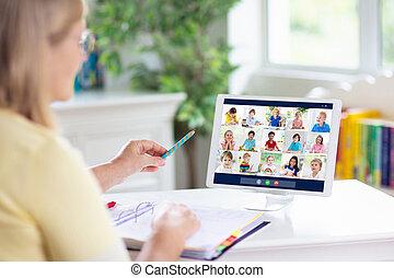 computer., learning., remoto, insegnante, linea
