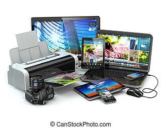 computer, mobile, laptop, stampante, telefono macchina fotografica, tabl, devices.