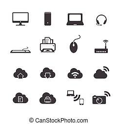 computer, nuvola, icone