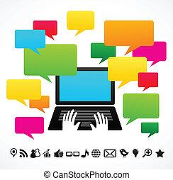 computer portatile, discorso, bolle
