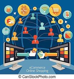 computer, shopping, monitor, linea