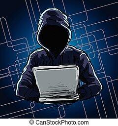 computer, spalmare, rete, hacker