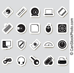 computer, stikers, icone