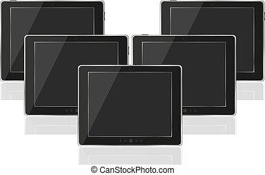computer, tavoletta, realistico, schermo, pc, vettore, nero