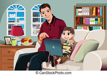 computer usa, padre, figlio