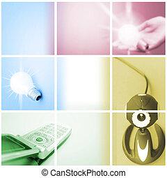 comunicazione, collage., colorito