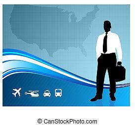 comunicazione, globale, fondo, viaggiatore affari