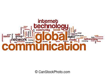 comunicazione, globale, parola, nuvola