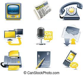 comunicazione, icon., vettore, media