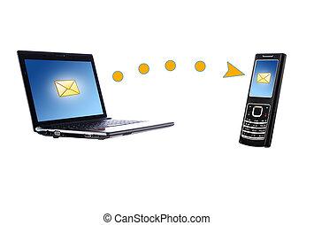 comunicazione mobile, laptop, telefono., concept.